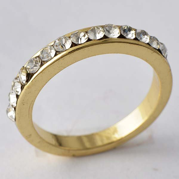 14k Yellow Gold Filled Clear CZ Wedding Promise Of Love