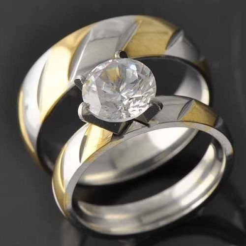 10k Yellow Gold Filled CZ Women's Wedding Ring Sets