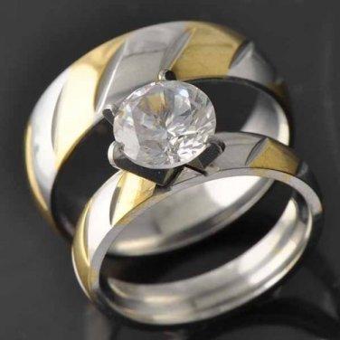 10k Yellow Gold Filled CZ Women's Wedding Ring Sets