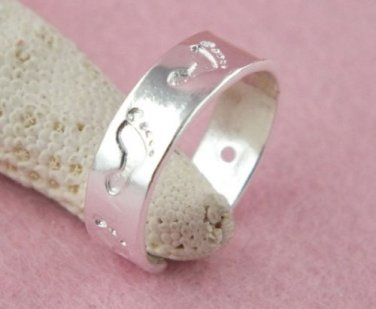 Foot Prints Toe Ring- .925 Sterling Silver