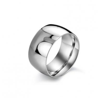 Wide Highly Polish Silver Wedding Band -  Classic Ring