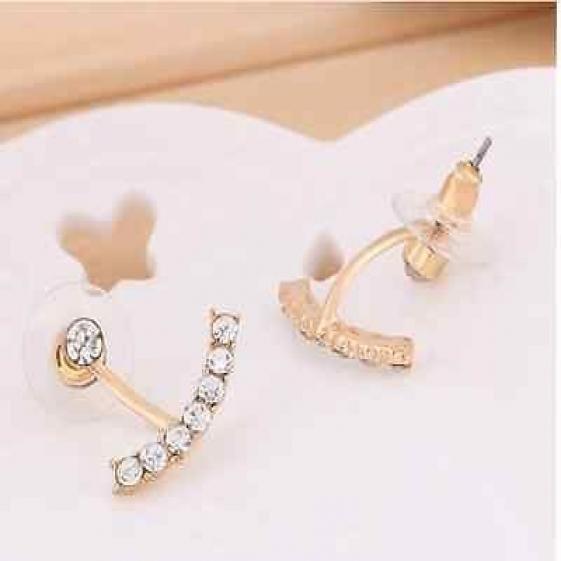 Fashion Crystal Earring - Ear Stud - Gold