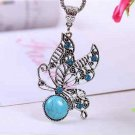 Turquoise Necklace & Butterfly Pendant 18""