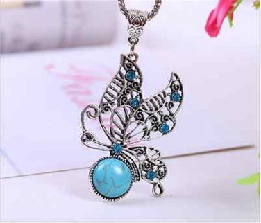 """Turquoise Necklace & Butterfly Pendant 18"""""""