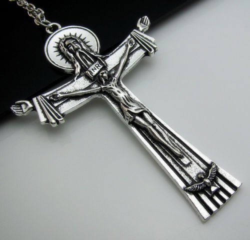 Jesus Cross Faith Charm Pendants Necklace ~ Silver