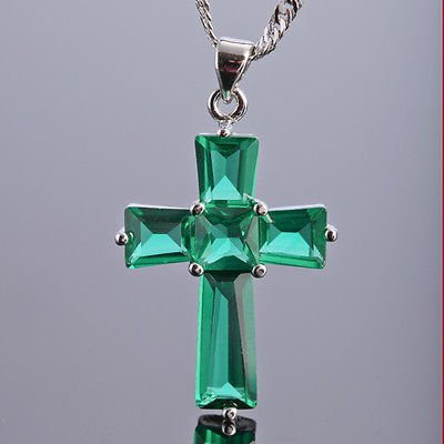Unisex Cross Emerald .925 Silver Pendant & Necklace