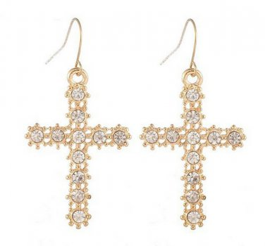 Cross 9K Gold Filled & Austrian Crystals Earrings French Hooks