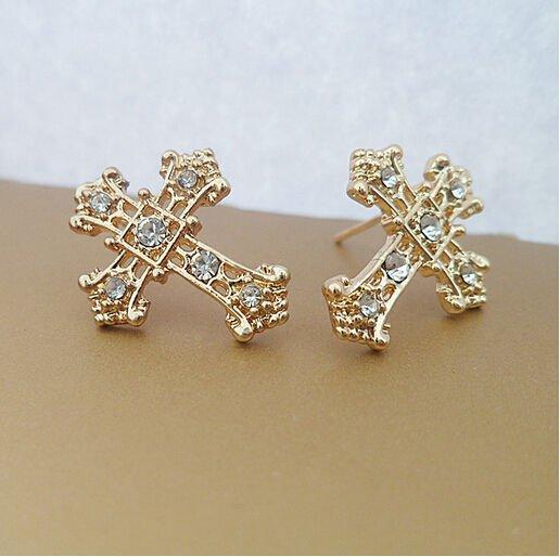 AAA CZ Cross Shape Earrings ~ 9K Gold Filled