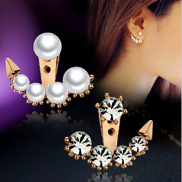 Unique 9K Rose Gold Filled Pearl & Crystal Stud Earrings