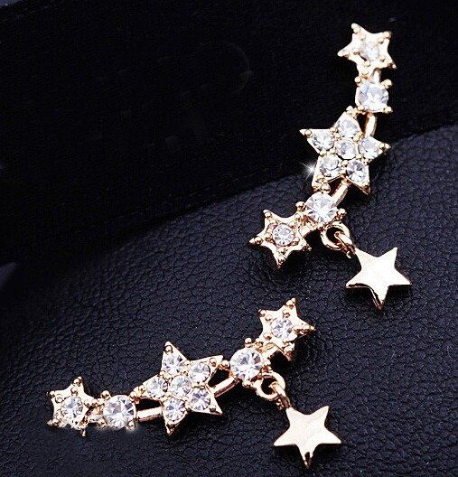 9K Yellow Gold Filled AAA Crystals Star Earrings