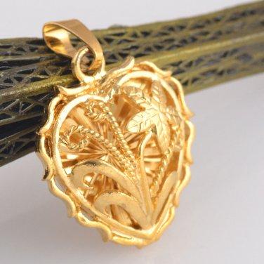 Lovely Heart / Flower Pendant 14K Yellow Gold Filled