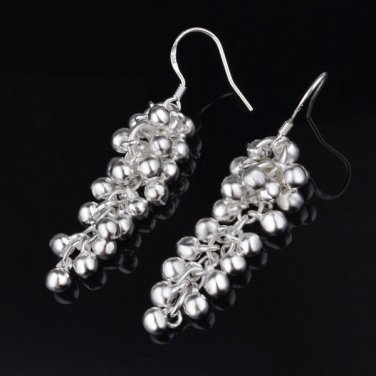 Dangle Grape Design Earrings .925 Sterling Beautiful