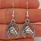 925 Silver Hooks Western Horse Earrings