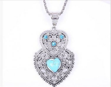Silver Double Heart Turquoise Necklace