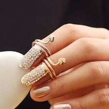 Crystals Are Forever Fingernail Ring - Silver