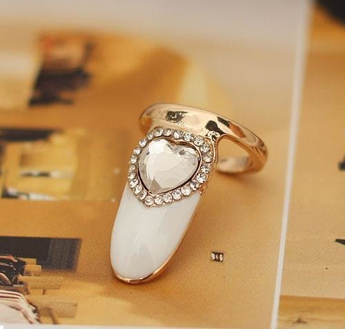 Crystal Heart Fingernail Ring Tip - Silver