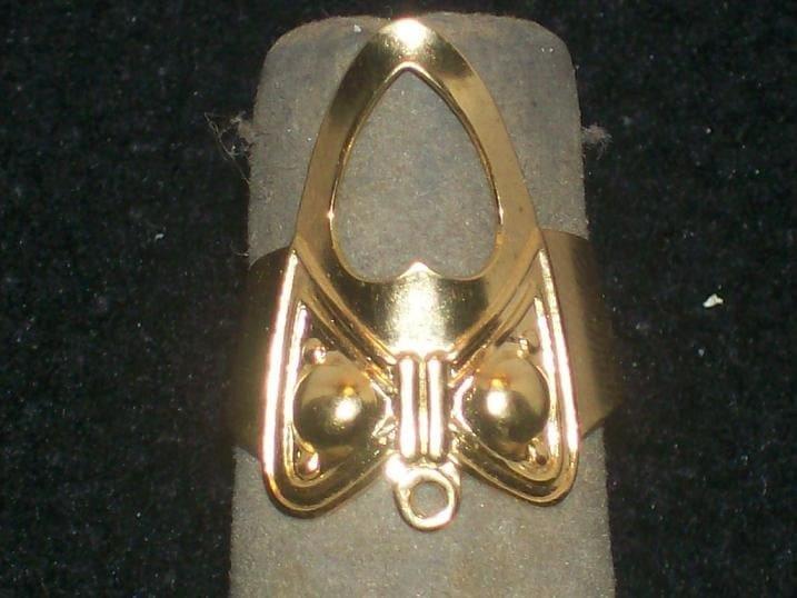 GOLD HEART FASHION FINGER NAIL TIP RING