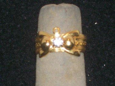 GOLD CRYSTAL FASHION FINGER NAIL TIP RING