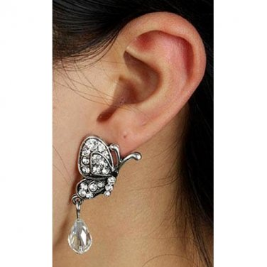 Silver Crystal Butterfly Ear Cuff - Crystal Red Or Clear