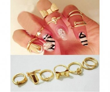 7 Gold Ring Set Heart. Bow & More