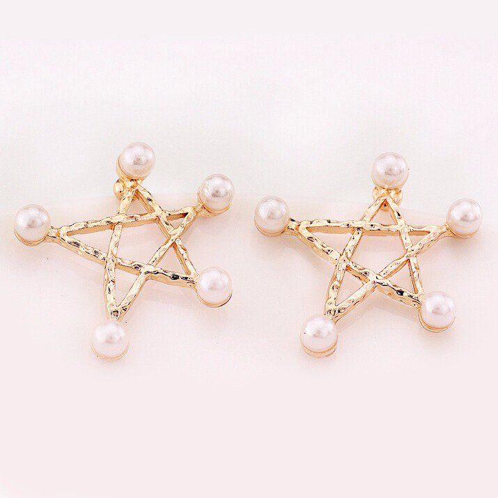 9K Yellow Gold Filled Star Pearl Stud Earrings