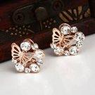 Rhinestone Fashion Gold Butterfly Stud Earrings