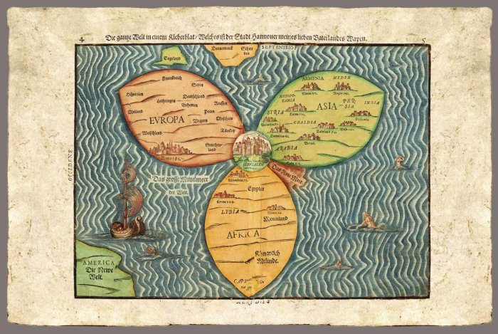 World, Clover Leaf by Heinrich Bunting, 1585