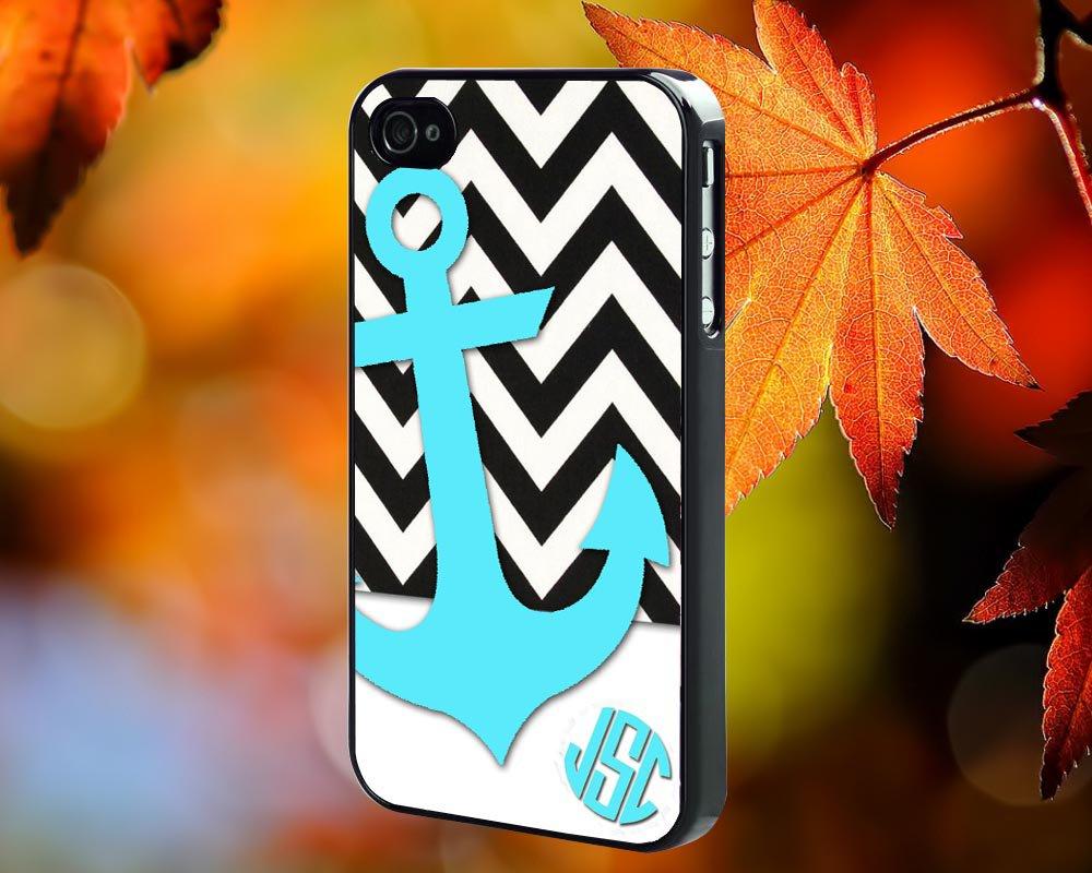 black white chevron anchor for iPhone 4/4S,5,5c,5s & samsung galaxy S3,S4,S5 Case Hard Plastic Cover