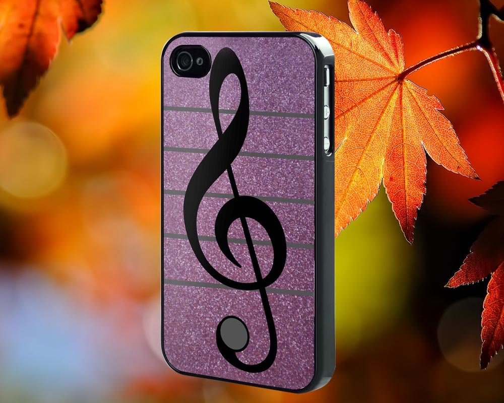 Purple Musical Note for iPhone 4/4S,5,5c,5s & samsung galaxy S3,S4,S5 Case Hard Plastic Cover