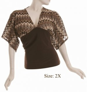 Size 2X V-neck Kimono Top, 3/4 sleeve, Brown (71-00336/2X)