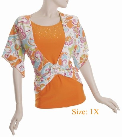 Size 1X V-neck  Top, short sleeve, Orange (71-00616/1X)