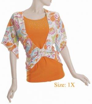 Size 1X V-neck  Top, short sleeve, Orange (71-00616/1X)
