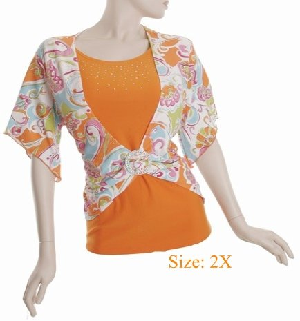 Size 2X V-neck  Top, short sleeve, Orange (71-00626/2X)