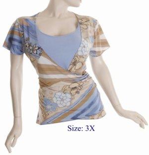 Size 3X V-neck  surplice Top, short sleeve, Blue/brown (71-00856/3X)