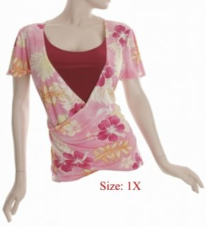Size 1X V-neck  surplice Top, short sleeve, Pink (71-00916/1X)