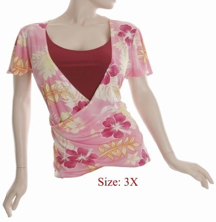 Size 3X V-neck  surplice Top, short sleeve, Pink (71-00956/3X)