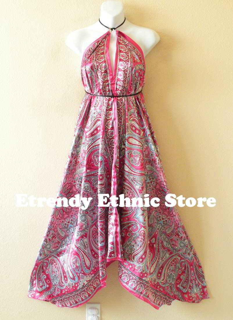 2D66 - Versatile Silk Multi Wear Scarf Long Maxi Dress Skirt