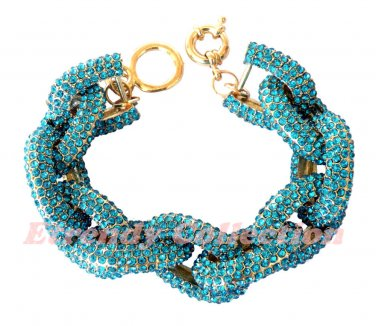 Blue Chunky Crew Pave Classic Link Chain Bracelet