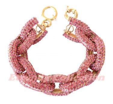 Rose Chunky Crew Pave Classic Link Chain Bracelet