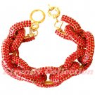 Red Chunky Crew Pave Classic Link Chain Bracelet
