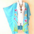 CB17 Blue Plus Size Cardigan Duster Jacket Kaftan Cover up - 2X, 3X, 4X & 5X