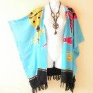 CB112 Blue Plus Size Cardigan Duster Jacket Kimono Cover up - 2X, 3X, 4X & 5X