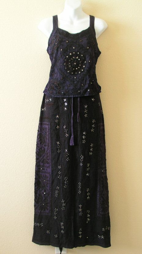 Gothic Renaissance Heavily Embroidered 2 pcs Sexy Top & Maxi Skirt Dress - S