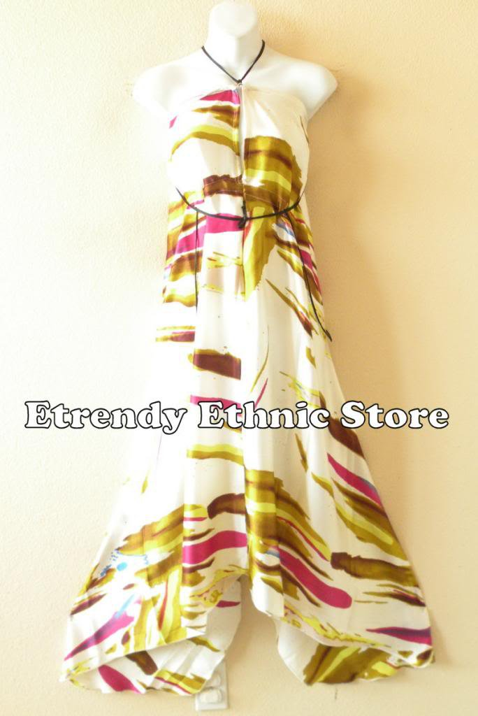 2D93 - Versatile Silk Multi Wear Scarf Long Maxi Halter Dress, Maternity