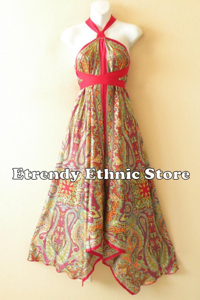 1D106 - Versatile Paisley Silk Multi Wear Scarf Long Maxi Halter Dress Maternity