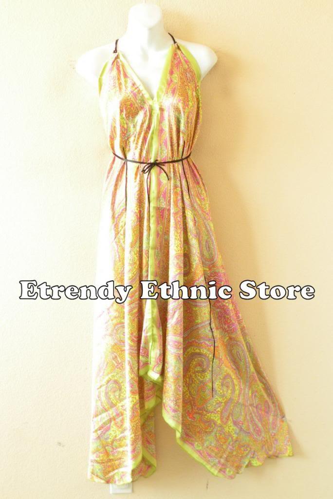 2D95 - Yellow Paisley Silk Multi Wear Scarf  Maxi Halter Dress Maternity