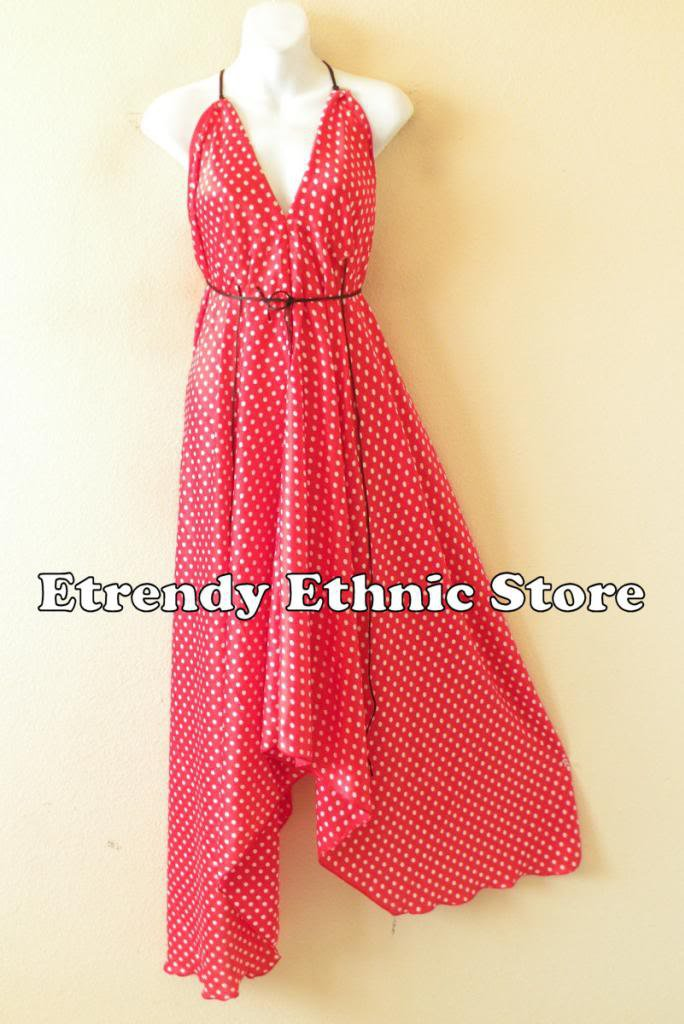 2D101 - Polka Dot Red & White Silk Multi Wear Scarf  Maxi Halter Dress Maternity