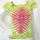 Green & Pink Hippie Gypsy Short Sleeve Stretchable Tie dye Blouse Top - XS & S