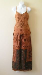 Gothic Renaissance Heavily Embroidered 2 pcs Sexy Top & Maxi Skirt Dress - S & M