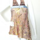 Boho Hippie Denim Embroidered Lurex Sexy Shimmering Blouse Top / Skirt - S & M
